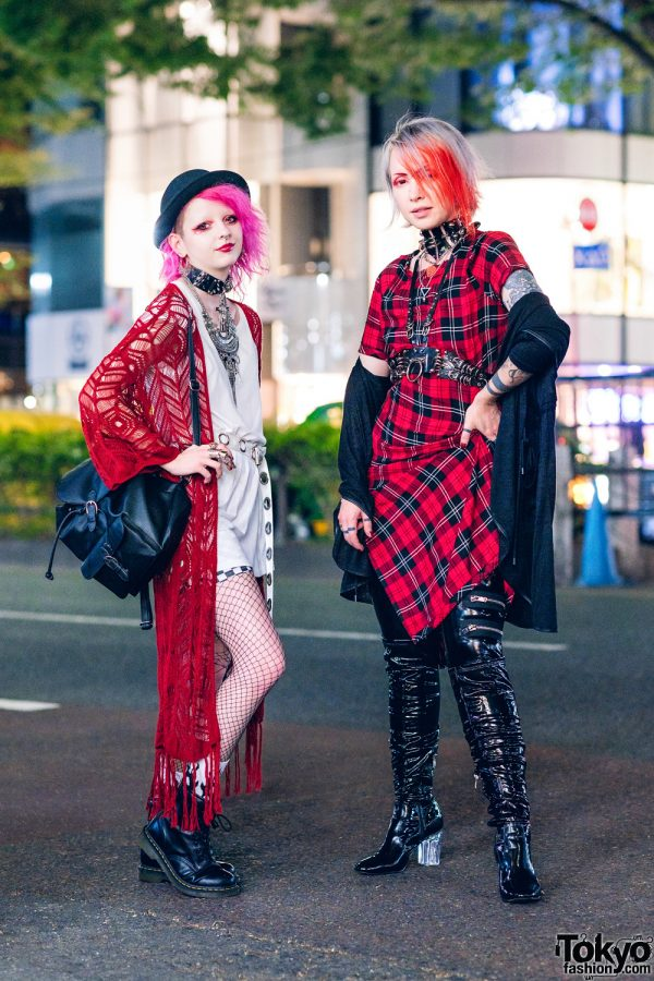Harajuku Street Styles w/ Pink Hair, Knit Cardigan, Zara Plaid Dress, Pull&Bear, Raspberry Mazohyst, Current Mood Pleather Pants, Cape Robin & Dr. Martens Boots