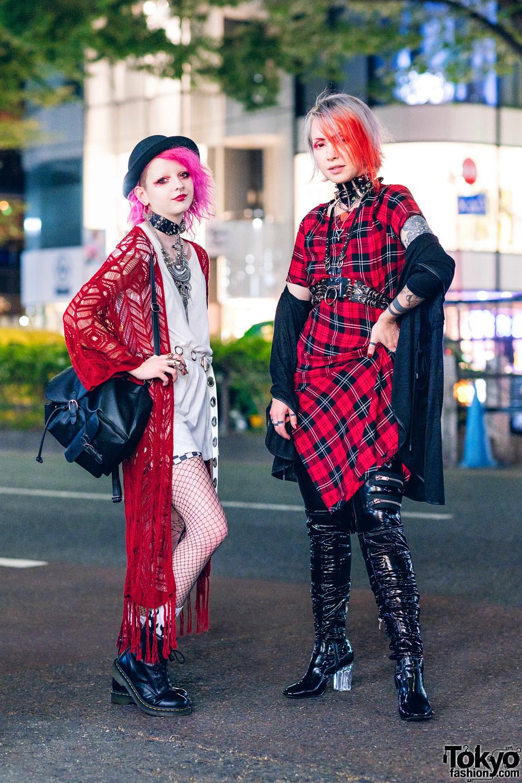 Harajuku Street Styles w/ Pink Hair, Knit Cardigan, Zara Plaid Dress, Pull&Bear, Raspberry Mazohyst, Current Mood Pleather Pants, Cape Robin & Dr. Martens Boots