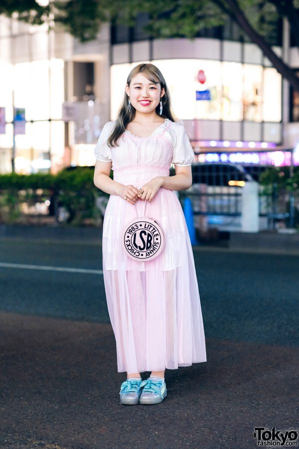 Pastel Street Style in Harajuku w/ Camisole Dress, Tiered Skirt, Little Sunny Bite Round Bag & Puma Sneakers