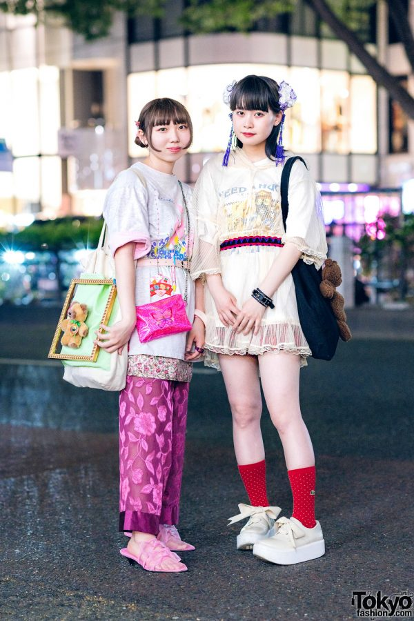 Harajuku Girls w/ Twin Tasseled Buns, Teddy Bear Bags, Kiki2 Kawaii, Kinji Organza Pants, Mikansei, Merry Jenny Hoodie, Team Souseiji, Tokyo Bopper & Jenny Fax