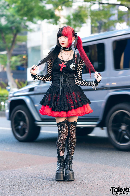 Gothic Harajuku Street Styles W Two Tone Hair Corset