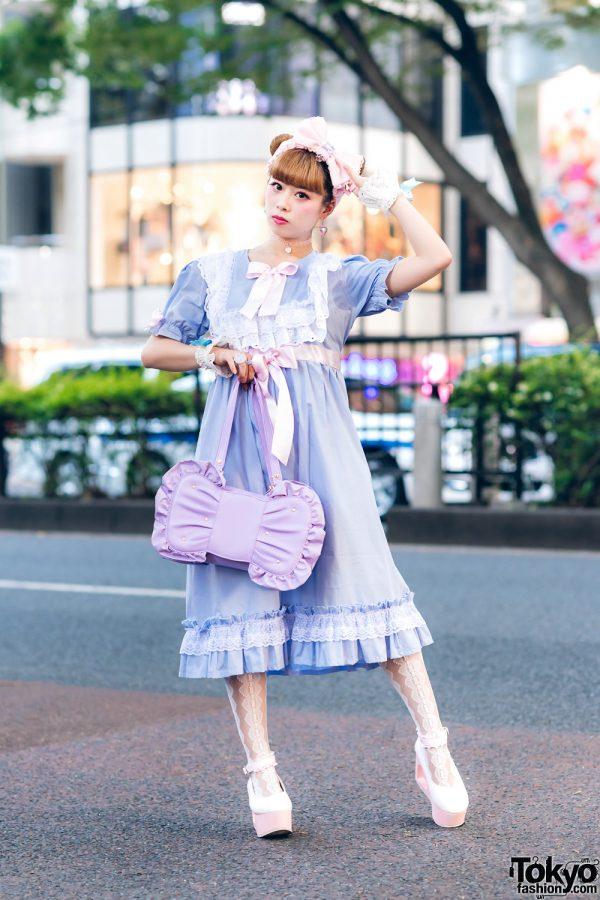 Kawaii Pastel Fashion in Harajuku w/ Twin Buns Hairstyle, Nile Perch Dress, Angelic Pretty Bow Bag & WEGO Platforms
