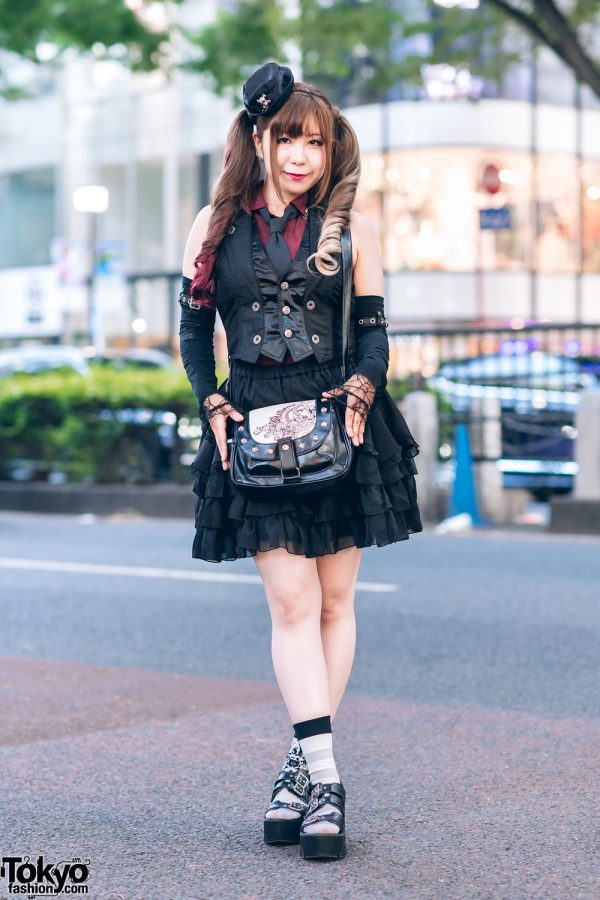 Steampunk Style in Harajuku w/ Hat Hairpiece, Twin Tails, Algonquins Vest, Tiered Skirt, Skull Handbag & Ankle Strap Shoes