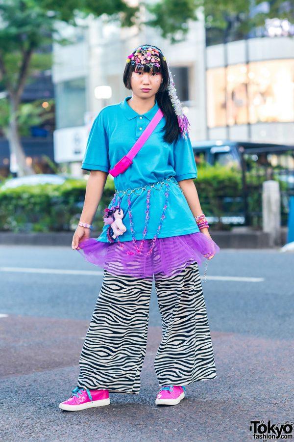 Decora in Harajuku w/ Braided Hair Falls, Decora Hair Clips, Tutu, Zebra Print Pants, Flying Tiger & Patent Leather Sneakers