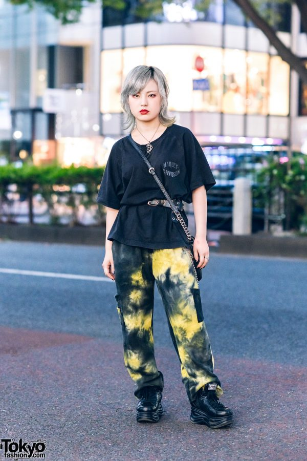 Japanese Street Style w/ Dragon Necklace, Harley Davison Shirt, Faith Tokyo Graphic Pants, DKNY Sling & Yosuke Sneakers