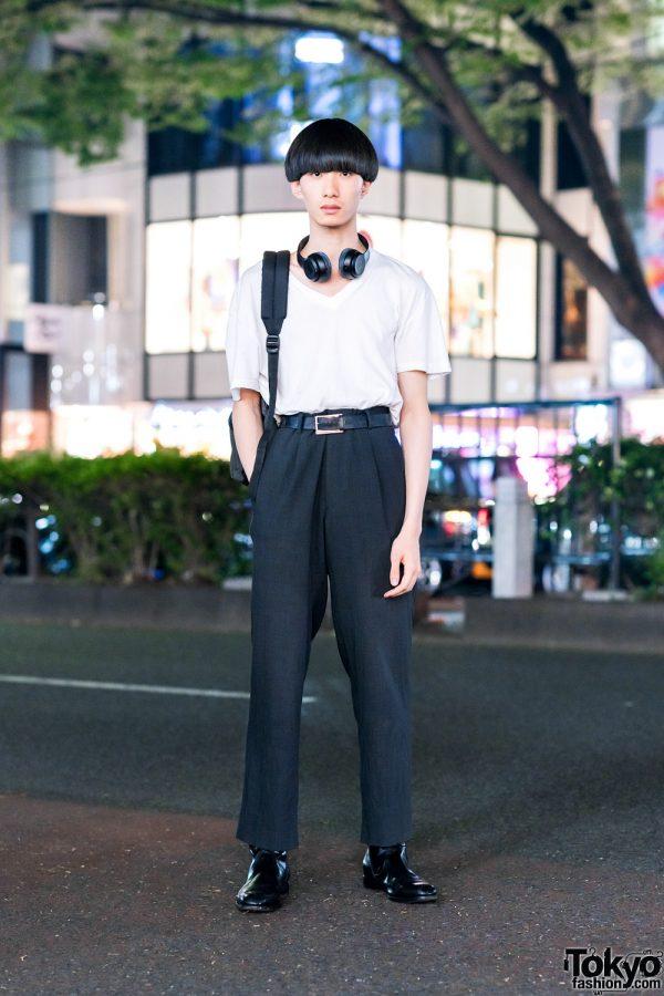 Tokyo Male Model w/ Blunt Bob, Prada Shirt, Hugo Boss Pants, Eastpak, Diesel & Salvatore Ferragamo Boots