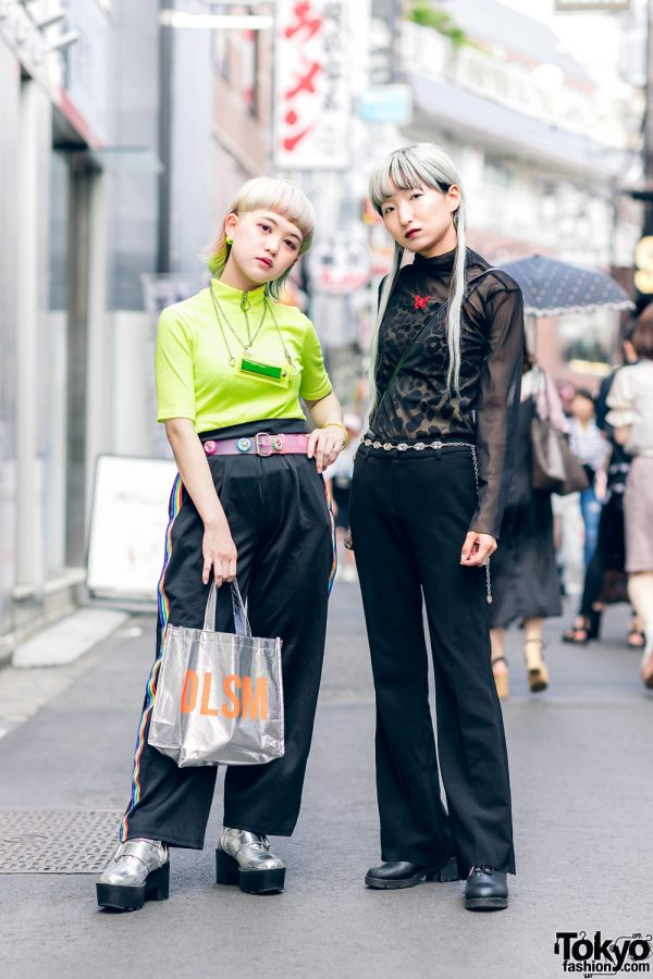 Harajuku Girls Streetwear Styles w/ Neon Hair, LED Necklace, Sheer Blouse, Bottle Cap Belt, DLSM Bag