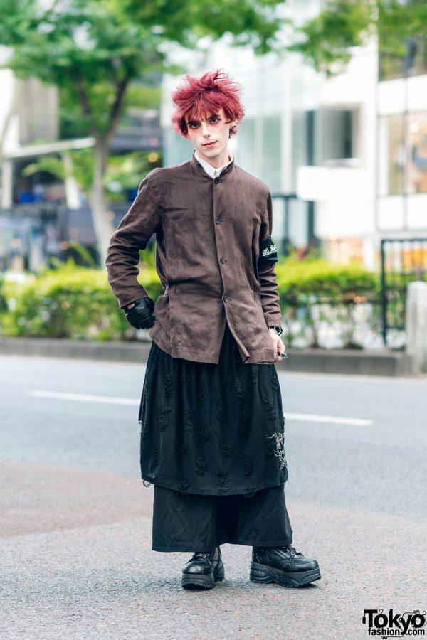 Harajuku Street Style w/ Red Hair, Issey Miyake Collarless Jacket, Comme des Garcons, Putumayo, Killers & Yosuke Platform Sneakers