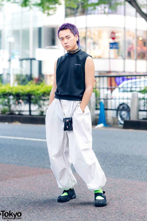 Purple-Haired Harajuku Guy in Casual Monochrome Street Wear w/ Alexander Wang Sleeveless Top, Parachute Pants, NCP Dress, D.TT.K & Nike Tabi Sneakers