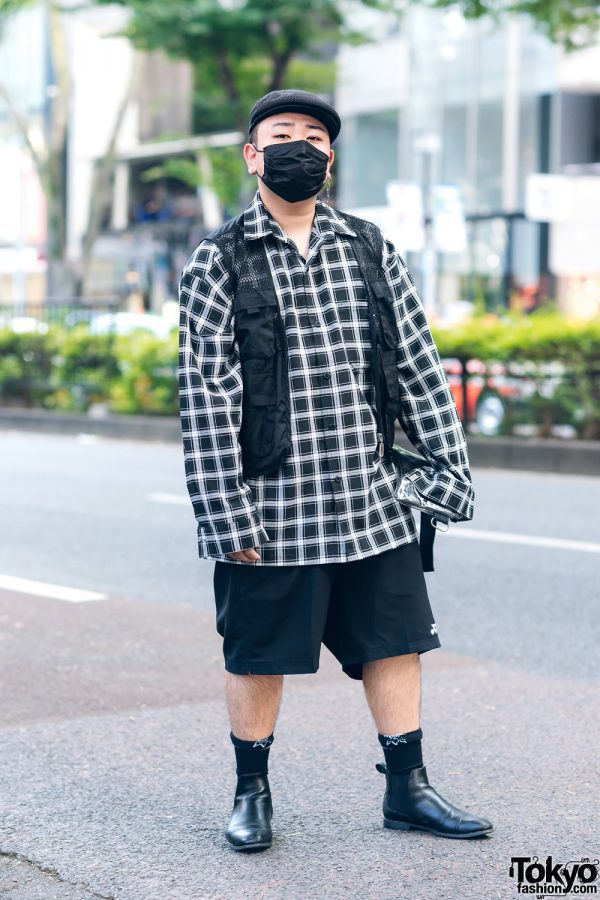 Japanese Rapper w/ Newsboy Cap, Plaid Shirt, Utility Vest, Yonex Shorts, Clear Bag & Zara Chelsea Boots