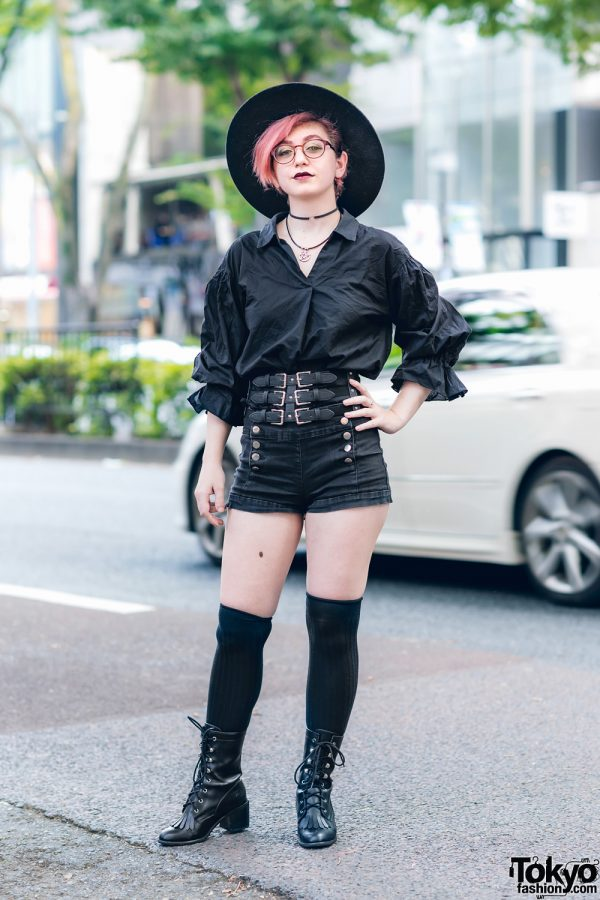 All Black Streetwear Style in Harajuku w/ Red Hair, Del Monico Wide Brim Hat, High-Waisted Shorts, Noble Noir Jewelry & Current Mood Boots