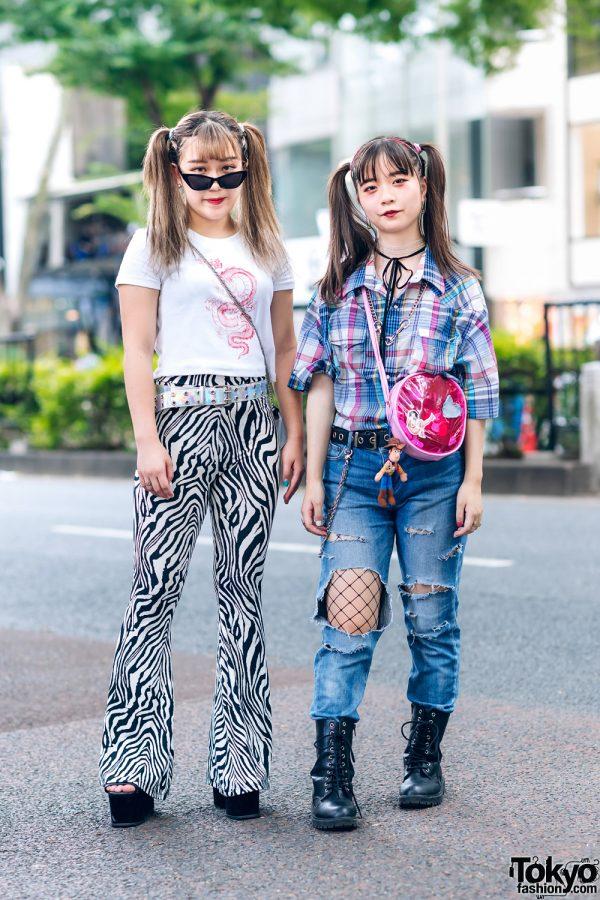Harajuku Girls  w/ Twin Tails, Bersha Dragon Shirt, (ME) Harajuku Zebra Pants, Ripped Jeans w/ Fishnets, Plaid Shirt, Leather Boots & Enver Platforms