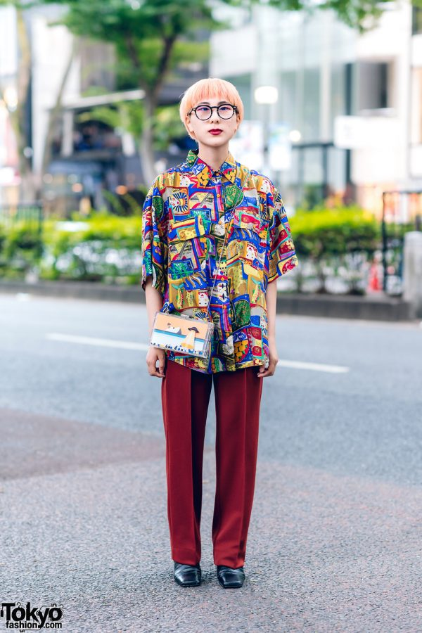 Funktique Tokyo Style w/ Blunt Bob, Round Glasses, Graphic Print Shirt, Dress Pants, Zara Sling & Colorblock Boots