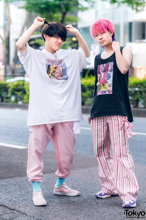 Tokyo Guys Pink Styles w/ Champion Comic Strip Shirt, Kobinai Graphic Top, Parachute Pants, Pink Panther Keychain, Vans & Adidas