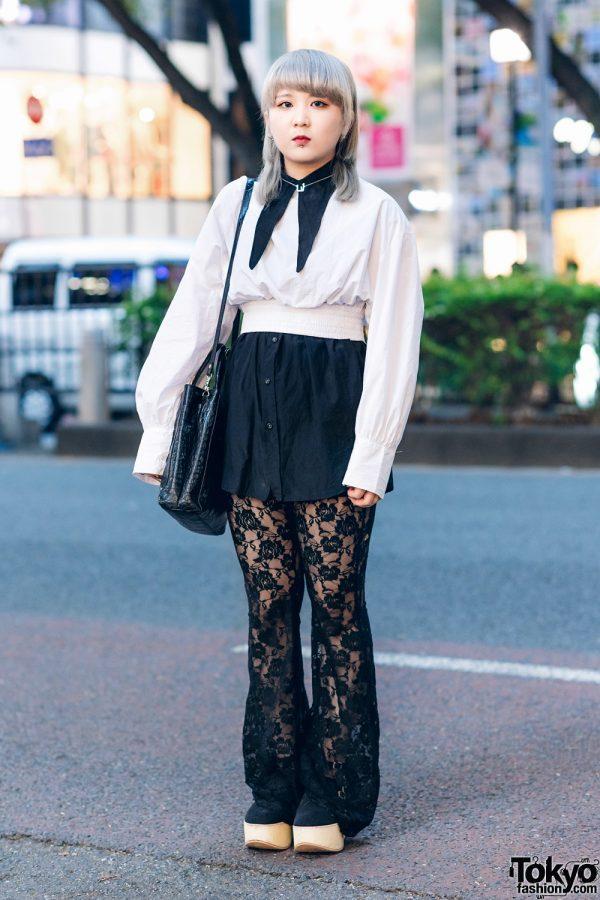 Harajuku Street Style w/ Floral Lace Pants, Gray Hair, Tokyo Bopper Platform Shoes, Zara, Faith Tokyo, Hand-Me-Down & Vintage Fashion