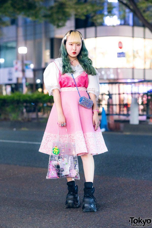 Harajuku Girl w/ White Lace Top, Pink Dress, Demonia Sneakers, New York Joe & Handmade Bag