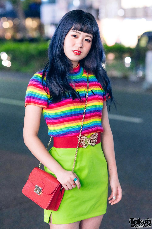 Tokyo Beauty School Students In Rainbow Top Denim Vest