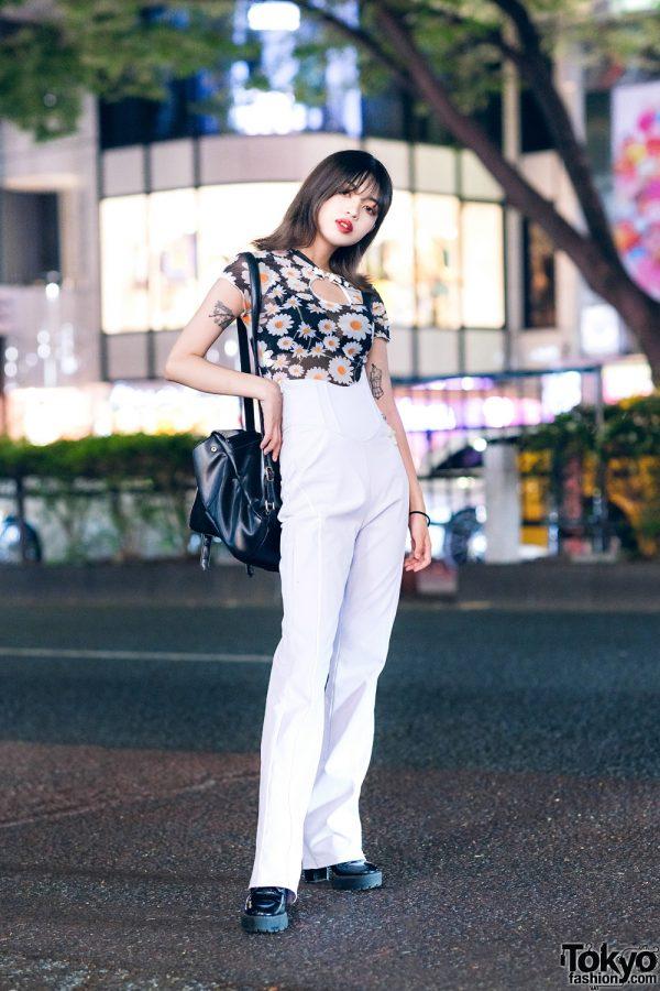 Japanese Designer in Chic Harajuku Street Style w/ Daisy Print Top, Nodress White Pants, Tattoos & Platform Boots