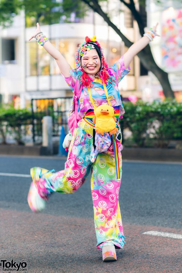 Colorful Kawaii Harajuku Street Style w/ Rainbow Hair Falls, Decora Hair Clips, ACDC Rag, Kobinai, El Rodeo, Duck Plushie & Yosuke Platforms