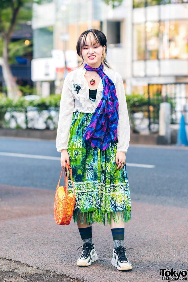 Harajuku Style w/ Two-Tone Hair, Stickout Cropped Jacket, Kinji Batik Dress, Vivienne Westwood, Izue Kobo, New York Joe & Asics