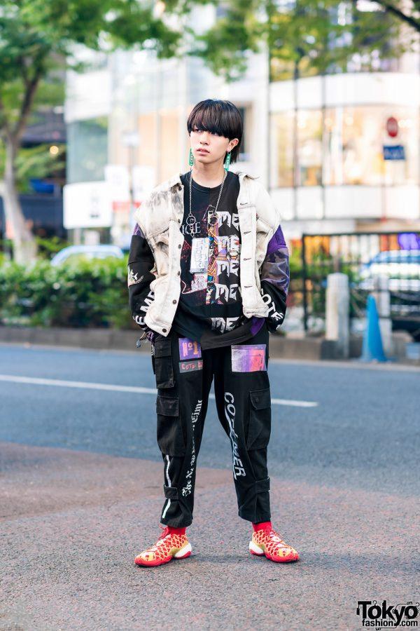 Cote Mer Graphic Streetwear Style w/ Kanji Earrings, Patchwork Denim Vest, Multi-Pocket Pants & Adidas Sneakers