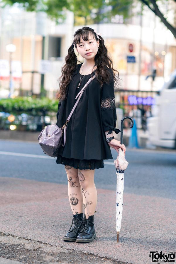 Twin Tails, Digital Print Sheer Stockings, Flared Blouse, Lace Skirt, Anna Sui Bag & Dr. Martens Boots in Harajuku