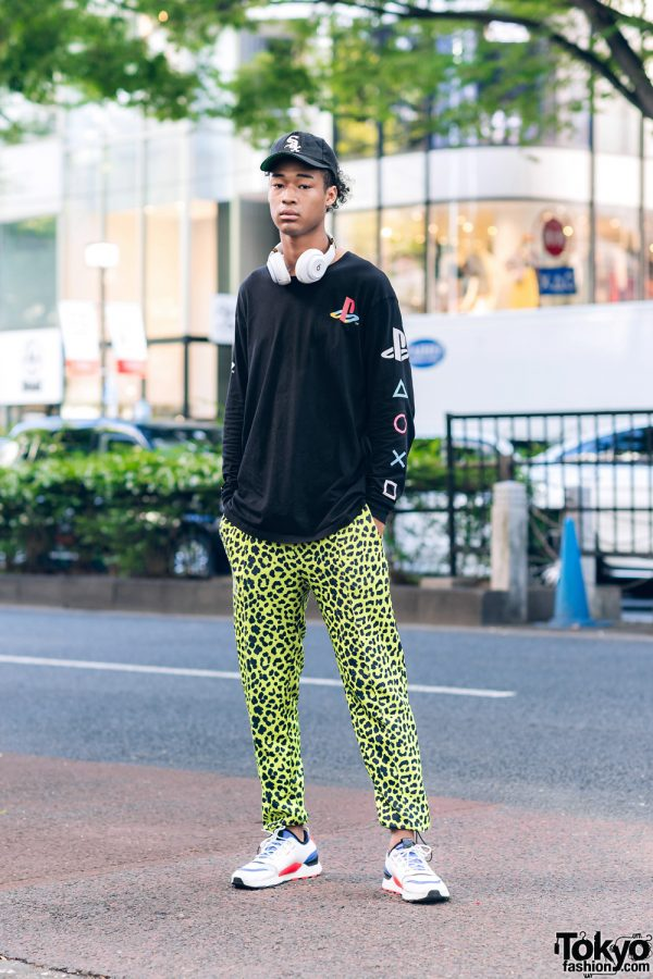 Model's Casual Streetwear Tokyo Fashion w/ Chicago Sox Cap, Headphones, Forever21 Playstation Sweatshirt, Cheetah Print Pants & Puma Sneakers