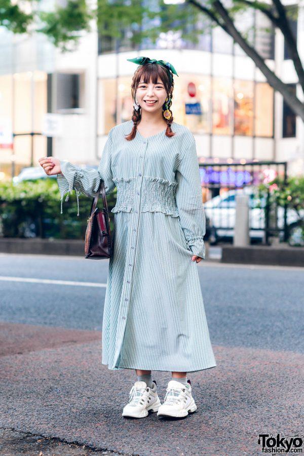 Vintage-Inspired Tokyo Street Style w/ Headscarf, Striped Dress, Handmade Earrings, Vintage Handbag & Gucci Chunky Sneakers