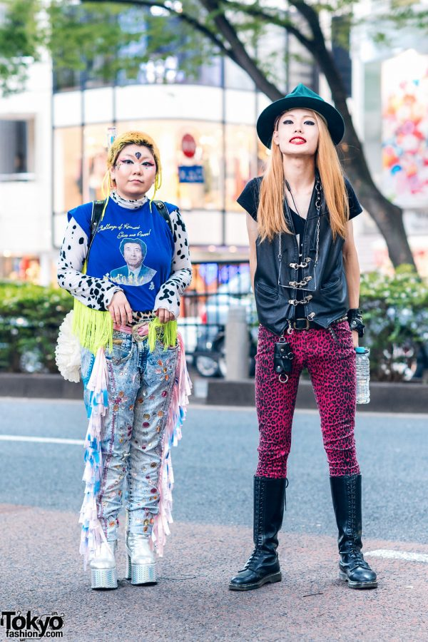 Japanese Styles w/ Vivienne Westwood World's End Hat, Koizumi Sleeveless Tee, Handmade & Vintage Fashion, Gibson, Fetis, Tripp NYC Cheetah Pants, Dolls Kill & Dr. Martens