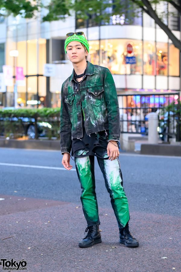 The Joker Inspired Harajuku Street Style Featuring Hand-Painted Denim Jacket & Dr. Martens