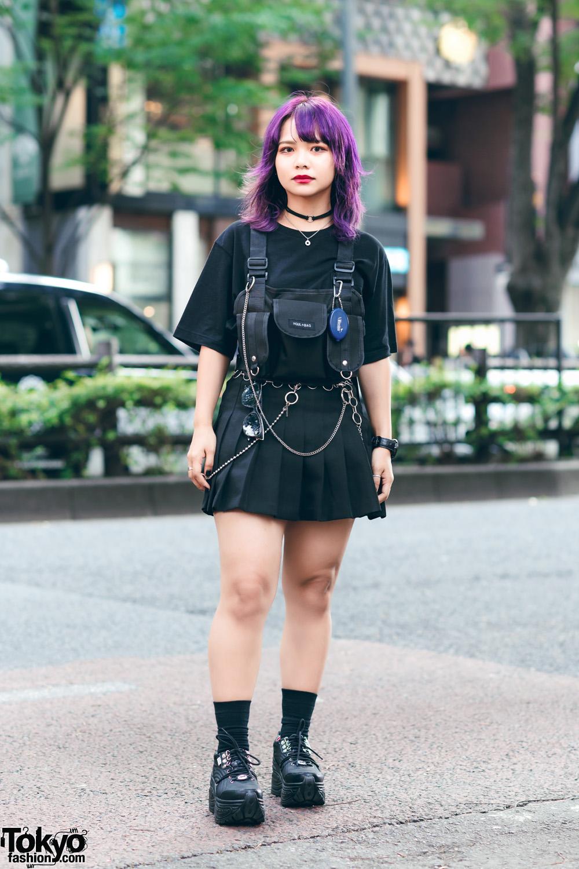 Harajuku Streetwear W Purple Hair Uniqlo X Street