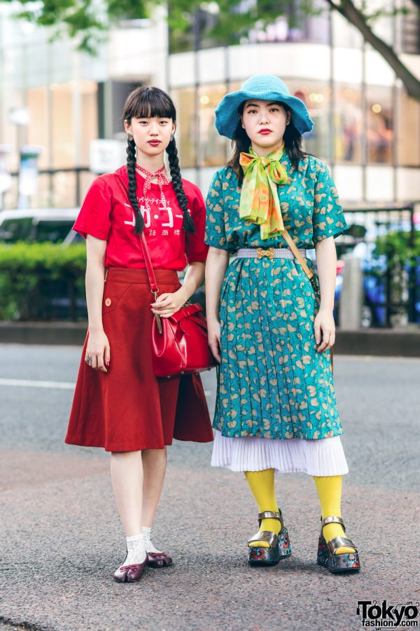 Harajuku Retro Vintage Street Styles w/ Twin Braids, Floppy Hat, Okadaya Ribbon Choker, Print Dress, Merlot Tabi Shoes & Out Of The World Platform Sandals