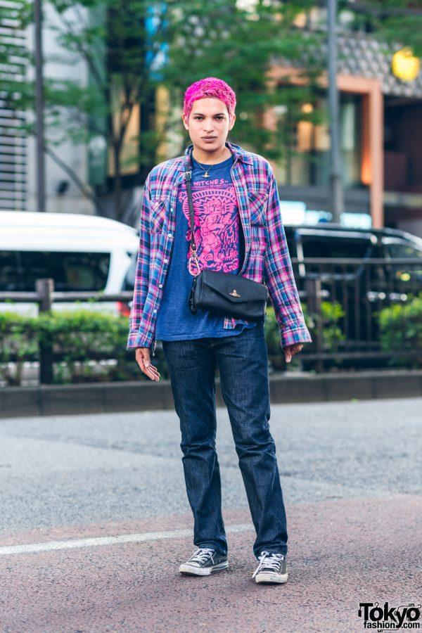 BubbleGum Designer in Harajuku w/ Pink Hair, Beams Flannel Shirt, Supreme Pants, Futura, Vivienne Westwood & Monochrome Sneakers