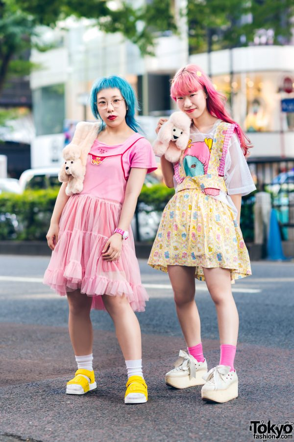 Japanese Streetwear Styles w/ Blue & Pink Hair, Furry Neckpiece, Adidas Shorts, Jenny Fax Mesh Top, Tokyo Bopper Cutout Shoes & Handmade Fashion