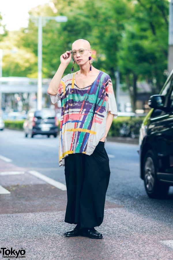 Japanese Model & Musician's Street Look w/ Mahjong Tassel Earrings, Nozomi Ishiguro Graphic Print Top, Depression Tribe Pants & Loake Chelsea Boots