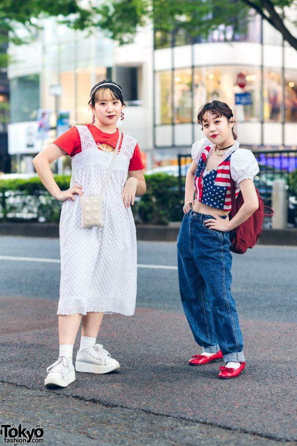 Red, White & Blue Streetwear Fashion in Harajuku w/ American Flag Vest, Nadia Zara Eyelet Dress, Forever21, Spinns, Fjallraven Kanken, Lee and Tokyo Bopper