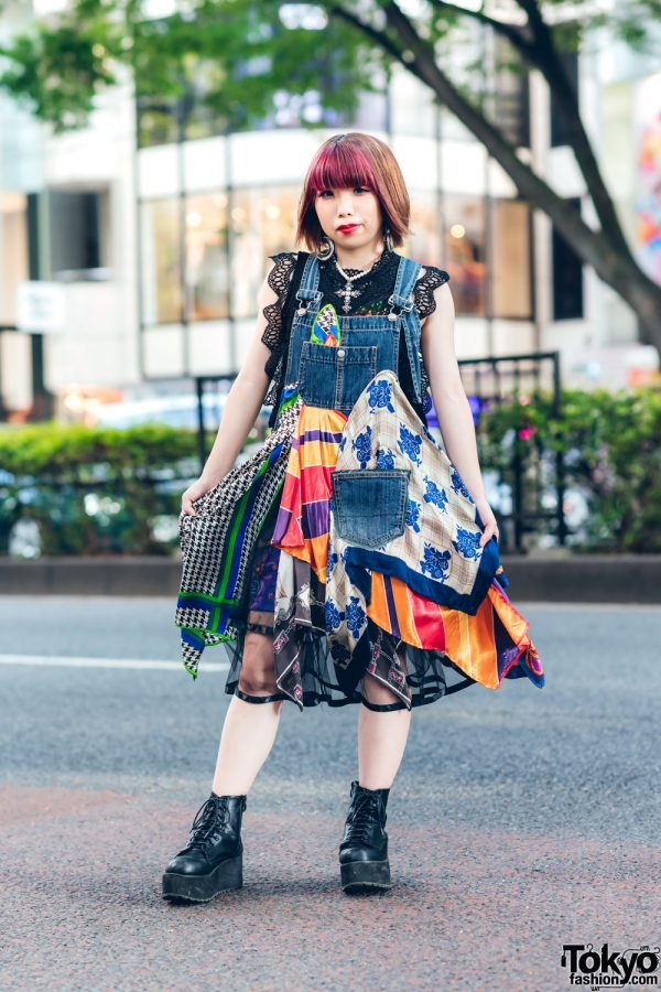 Layered Streetwear Fashion in Harajuku w/ Pink Bangs, Crochet Dress, Codona De Moda Overall Dress, (ME) Harajuku Cross Necklace & Lace-Up Boots