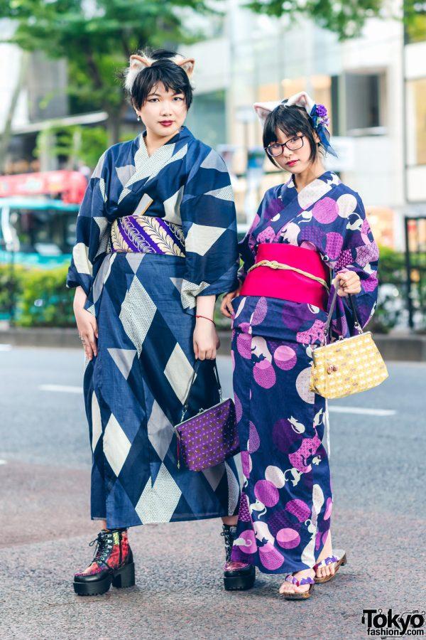 Yukata Street Styles in Harajuku w/ Furry Cat Ears, Printed Yukatas, Animal Print Clasp Purses, Floral Boots & Geta Sandals
