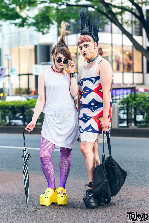Tokyo Street Styles w/ Tall Mohawks, Cheek Piercing, Spiked Chokers, Y's, Vivienne Westwood World's End & Balenciaga Platform Crocs