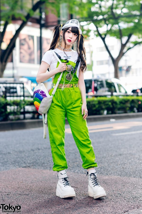 Japanese Pop Idol in Harajuku w/ Twin Tails, Clear Visor, Rose Apple Studio Crop Top, UNIF Rainbow Backpack & Demonia Shoes