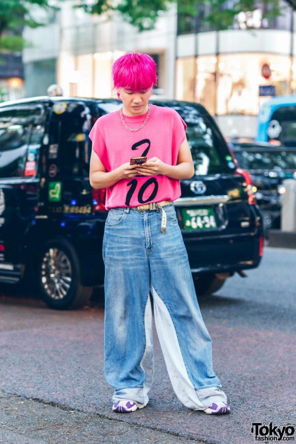 Harajuku Denim Style w/ Pink Hair, Kobinai Top, Denim Jeans & Adidas Sneakers