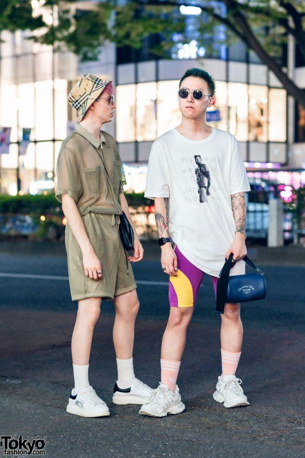 Harajuku Guys' Street Styles w/ Bucket Hat, Vintage Fashion, Adidas Cycling Shorts, Alexander Wang, Balenciaga, ESC Studio, LV, Valentino, Ambush & Dior