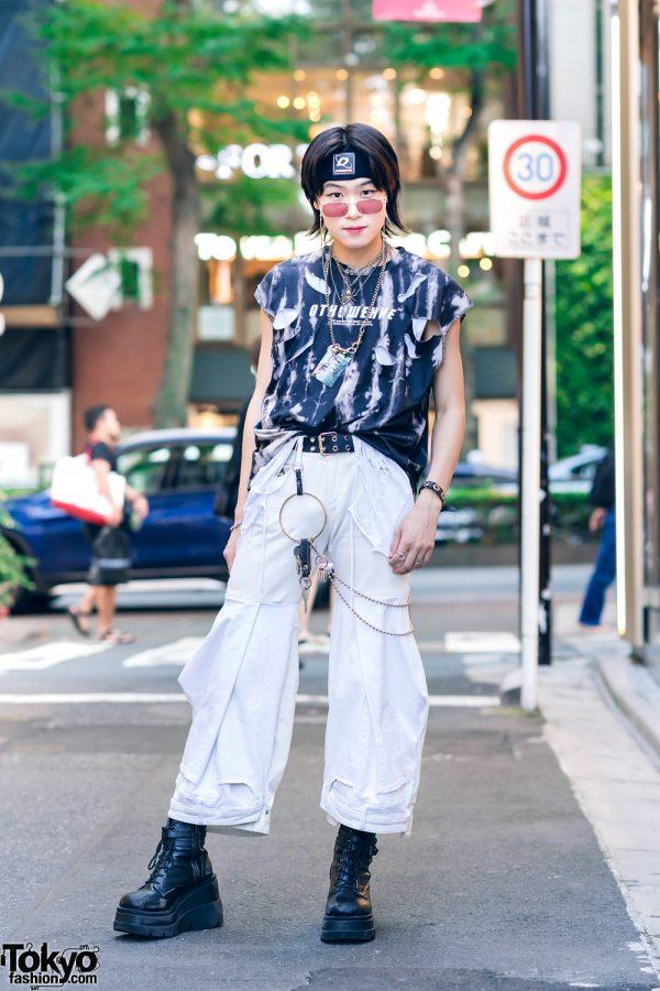 Deconstructed Streetwear Style in Harajuku w/ DYOG Headband, Torn Shirts, Onika Collection, Faith Tokyo & Demonia Boots