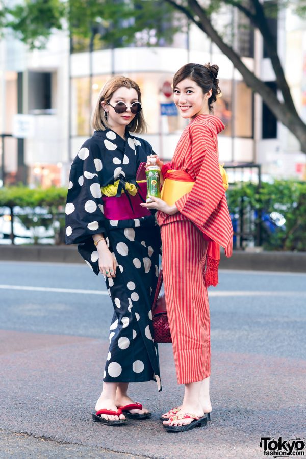 Harajuku Yukata w/ Geta Sandals, Red Woven Bag & Marc Jacobs Sunglasses