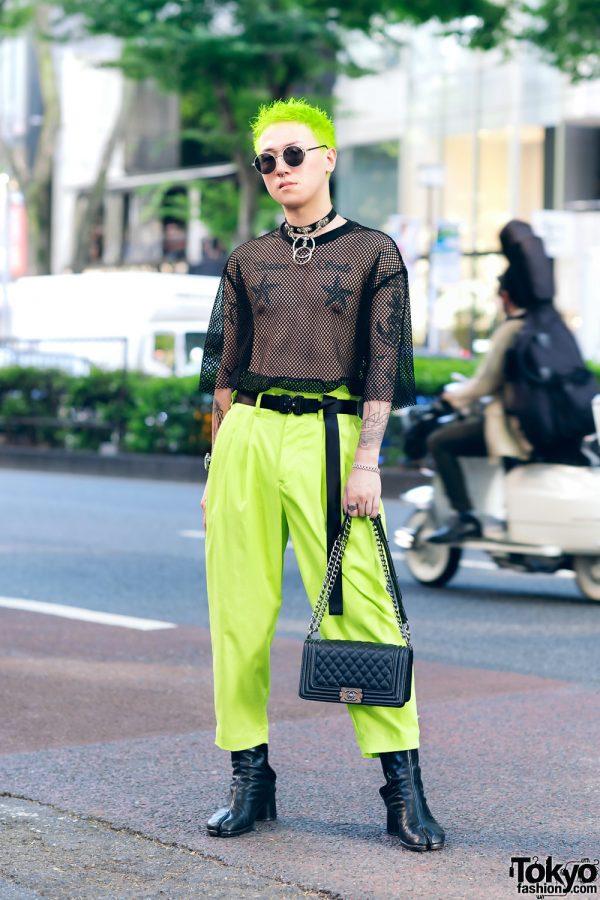Neon Harajuku Street Style w/ H&M Mesh Top, Vintage Pants, Maison Margiela Tabi Boots, Chanel & Louis Vuitton