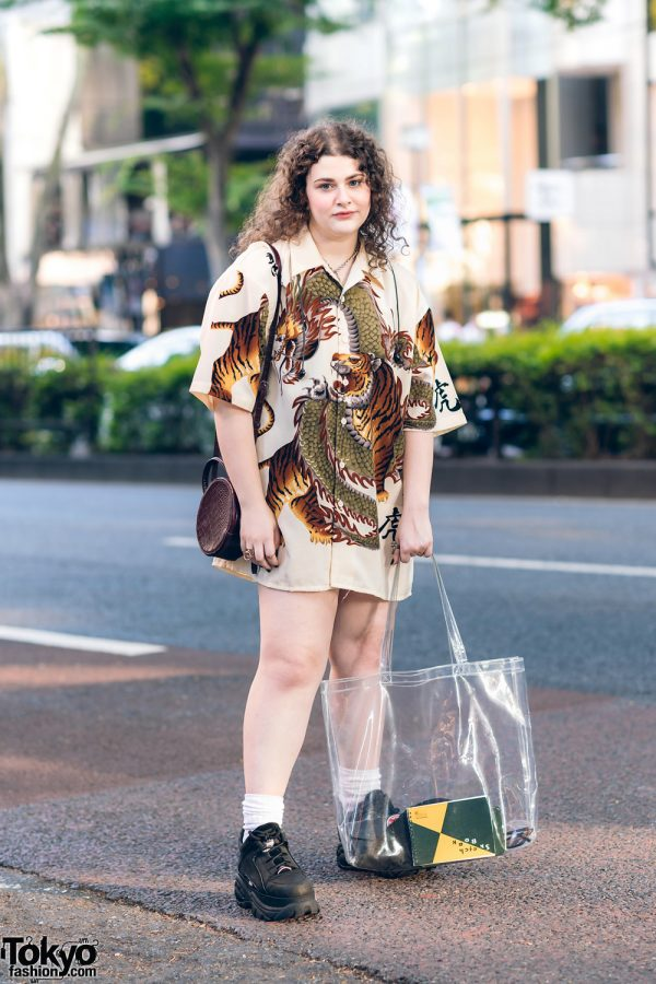 Girl in Harajuku w/ Vintage Tiger Print Shirt, H&M Accessories, H&M Round Sling, WEGO Clear Tote & Buffalo Chunky Shoes