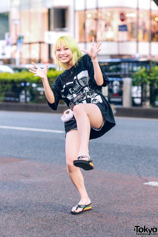 Tokyo Casual Streetwear Style w/ Green Hair, Cote Mer Graphic Print T-Shirt & Yosuke Slip-Ons