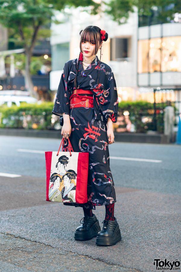 ACDC Rag Harajuku Japanese Yukata Street Style w/ Twin Buns, Butterfly Brooch, Lace Tights, Geisha Bag & Demonia Platforms