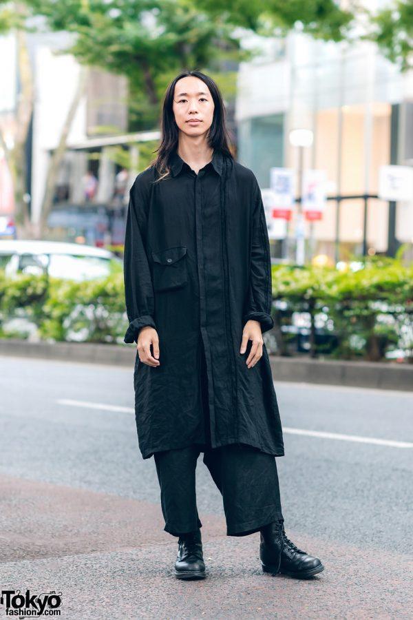 Yohji Yamamoto Menswear w/ Long Shirt, Cropped Pants & Dr. Martens Boots