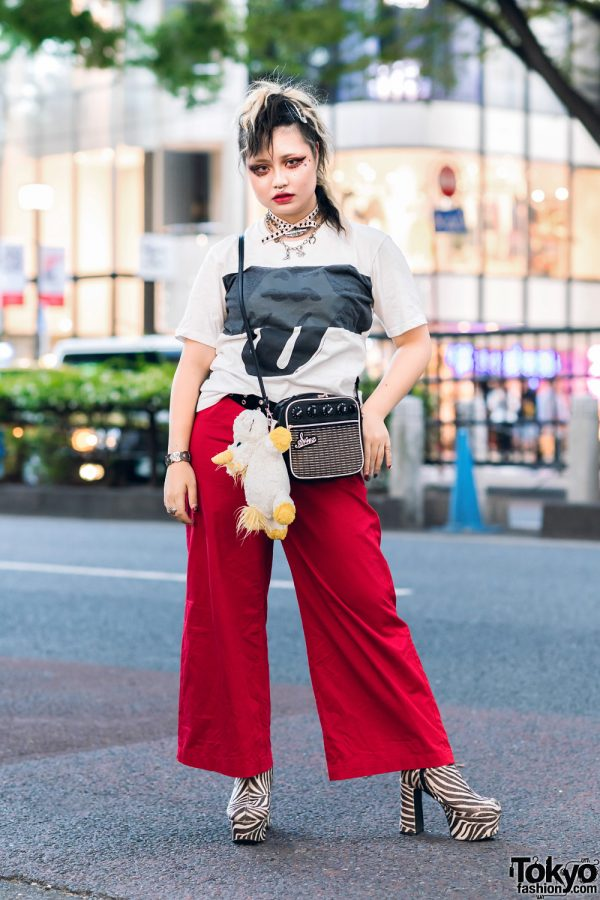 Harajuku Rock Look w/ Rolling Stones Shirt, Red Pants, Sinz Amplifier Bag & OK Zebra Print Boots
